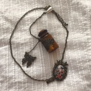 Vintage Necklace and Butterfly Bottle Charm 🦋